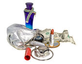 Items contained in the women's handbag — Stok fotoğraf