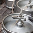 Stock Photo: Metal kegs of beer