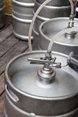 Metal kegs of beer — 图库照片