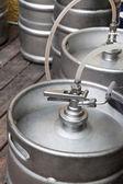 Metal kegs of beer — Stock Photo