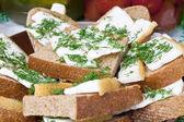Sandwich with lard — Stock Photo