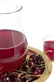 Decanter on a tray with a compote of cherries — Stock Photo