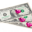 Heart and dollars — Stock Photo