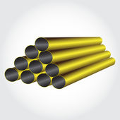 Pipes metallic pyramid — Stock Vector