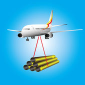 Pipes metallic on plane — Stock Vector