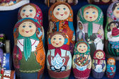 Group handpainted nesting dolls — Stock Photo