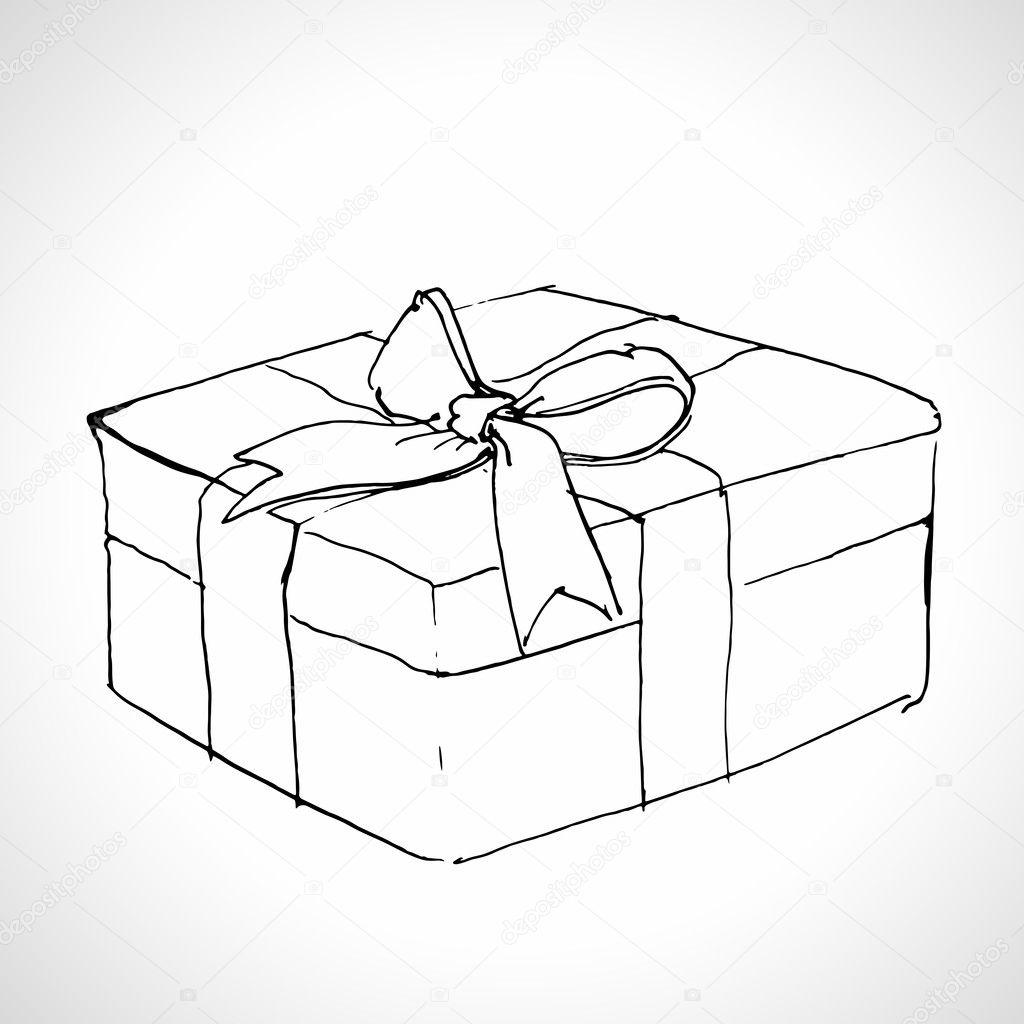 Как нарисовать объёмный подарок 85