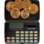 Постер, плакат: Calculator and coins