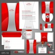 Постер, плакат: Red corporate identity template with silver stripe