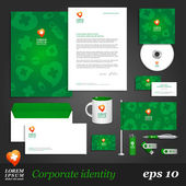 Green medical corporate identity template. — Stock Vector