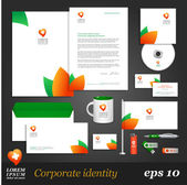 Template with leaf elements. — Stock Vector