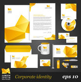 Template with yellow origami elements. — Stock Vector