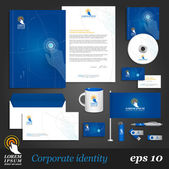 Blue digital corporate identity template with hand. — Stock Vector