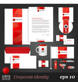 Corporate identity template with red elements — Stockvektor