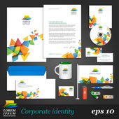 Corporate identity template with color elements — Stock Vector