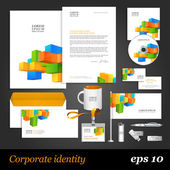 Corporate identity template with color cubes — Stock Vector