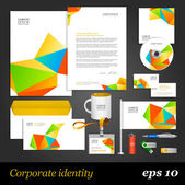 Corporate identity template with color origami elements — Stock Vector