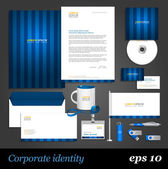 Blue corporate identity template. — Stock Vector