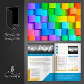 Brochure template design with color cubes — Stock Vector