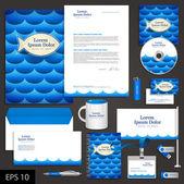 Sea corporate identity template — Stock Vector
