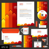 Red corporate identity template — Stock Vector
