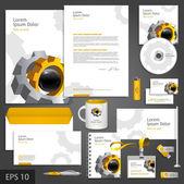 Corporate identity template with cogwheel. — Stock Vector