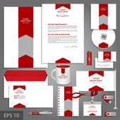 White corporate identity template with red arrow — Stock Vector