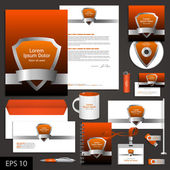 Orange corporate identity template with shield. — Stock Vector