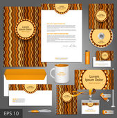 Brown corporate identity template with waves. — Stock Vector