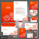 Red corporate identity template with floral elements. — Stock Vector