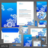 Blue corporate identity template with cogwheels — Stock Vector