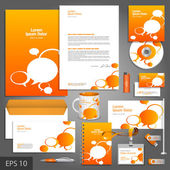 Orange corporate identity template with text bubbles — Stock Vector