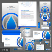 Gray corporate identity template with water drop — Stock Vector