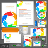 Color corporate identity template with arrows — Stock Vector