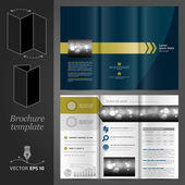 Dark blue brochure template design with golden arrows. — Stock Vector