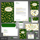 Floral corporate identity template with golden leaves — Stock Vector