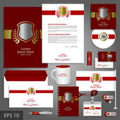 Red corporate identity template with golden shield — Stock Vector