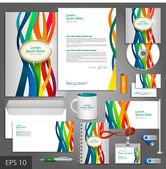 Color corporate identity template with stripes — Stock Vector
