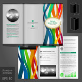 Brochure template design with color stripes — Stock Vector