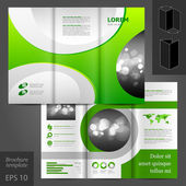 Brochure template design with green round elements. — Stock Vector