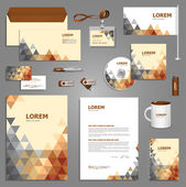 Stationery template design with triangles. — Stock Vector