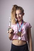 Winner teenage girl — Stock Photo