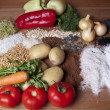 Foto Stock: Fresh vegetable, seeds and spices