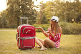 Traveler teenage girl — Stock Photo