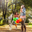 Happy  family walking in park  — Foto Stock