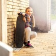 Cute girl and skate, outside — Stock Photo #36946371