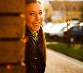Teenage girl on the street — Stock Photo
