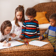 Stock Photo: Group of kids are playing at home