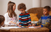 Group of kids are playing at home — Stock Photo