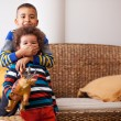Stock Photo: Mixed race boys are playing in living room